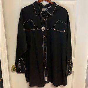 Black Men's Western wear button down and boa